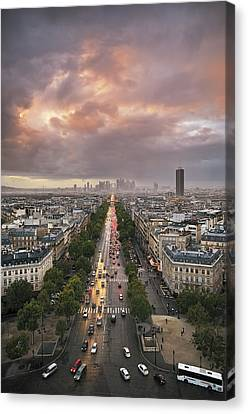 Pov From Arch Of Triumph Canvas Print by © Yannick Lefevre - Photography