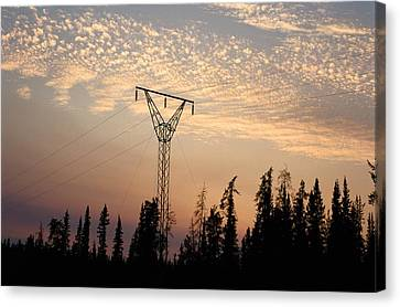 Power Tower And Sunset, Wood Buffalo Canvas Print by Raymond Gehman