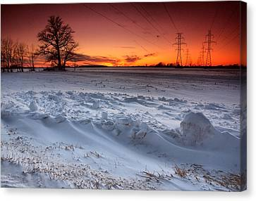 Powerlines In Winter Canvas Print by Cale Best