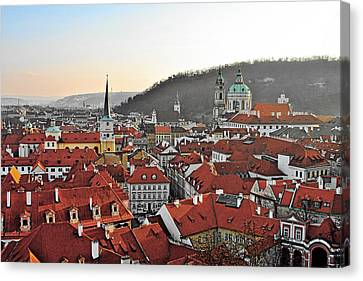 Prague - A Story Told By Rooftops Canvas Print by Christine Till