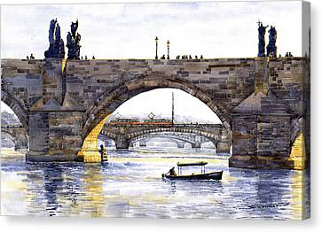 Prague Bridges Canvas Print by Yuriy  Shevchuk