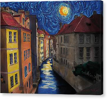 Prague By Moonlight Canvas Print by Jo-Anne Gazo-McKim