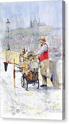 Prague Charles Bridge Organ Grinder-seller Happiness  Canvas Print by Yuriy  Shevchuk