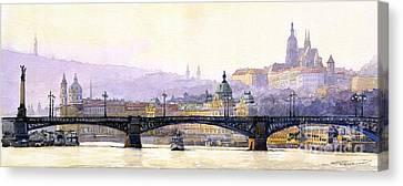 Prague Panorama Cechuv Bridge Variant Canvas Print by Yuriy  Shevchuk