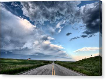 Prairie Road And School House Canvas Print by Mark Duffy