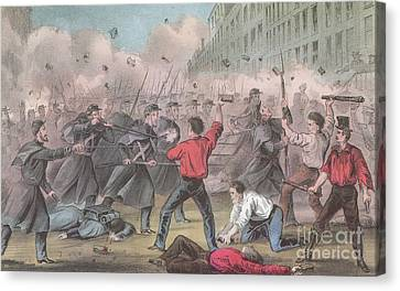 Pratt Street Riot, 1861 Canvas Print by Photo Researchers