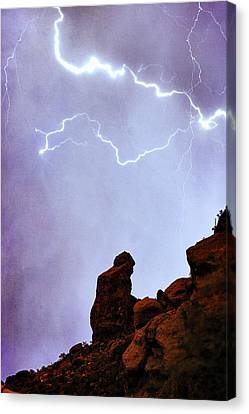 Praying Monk Camelback Mountain Paradise Valley Lightning  Storm Canvas Print by James BO  Insogna
