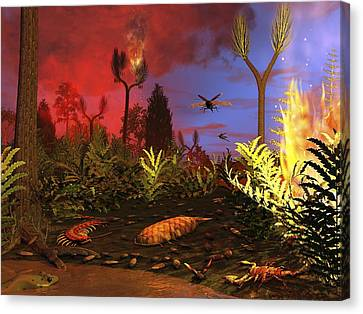 Prehistoric Forest Fire, Artwork Canvas Print by Walter Myers
