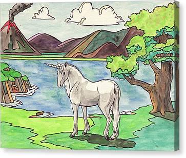 Prehistoric Unicorn Canvas Print by Crista Forest