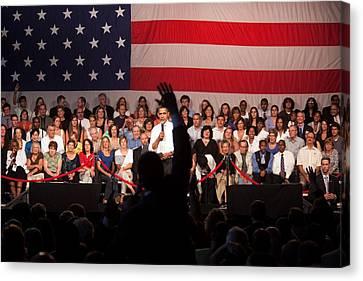 President Barack Obama Answers Canvas Print by Everett