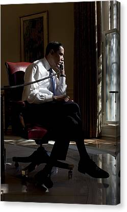 President Barack Obama At His Oval Canvas Print by Everett