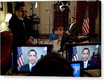 President Barack Obama Conducting Canvas Print by Everett