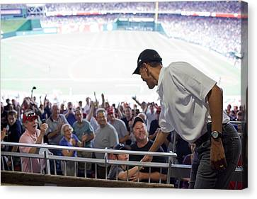 President Barack Obama Greets Baseball Canvas Print by Everett
