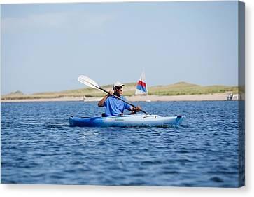 President Barack Obama Kayaks While Canvas Print by Everett