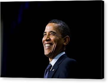 President Barack Obama Smiles While Canvas Print by Everett