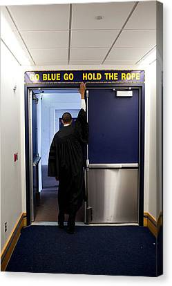 President Barack Obama Touches The Sign Canvas Print by Everett