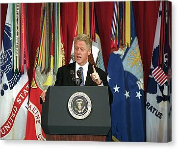 President Clinton Delivers An Canvas Print by Everett