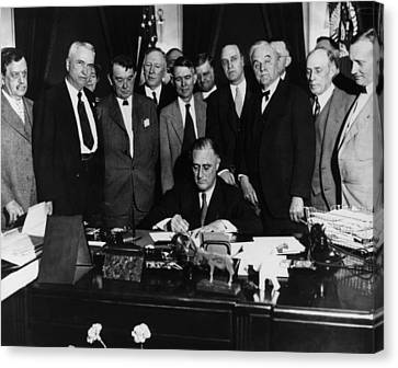 President Franklin D. Roosevelt Seated Canvas Print by Everett