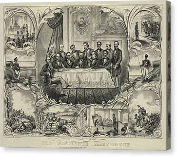 President Grant With Group Of Men Canvas Print by Everett