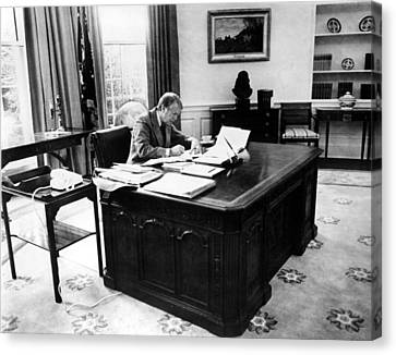 President Jimmy Carter At Work Canvas Print by Everett