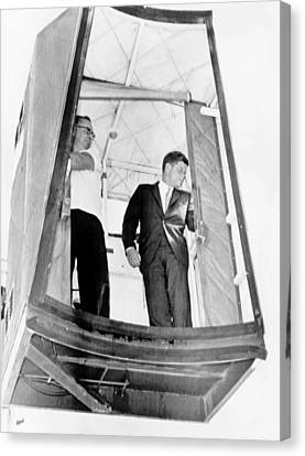 President John F. Kennedy Riding Canvas Print by Everett