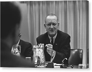 President Lyndon Johnson Gesturing Canvas Print by Everett