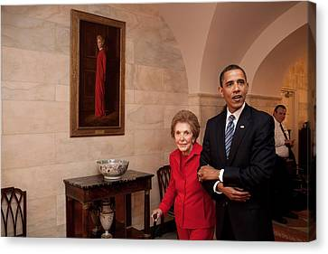 President Obama And Former First Lady Canvas Print by Everett