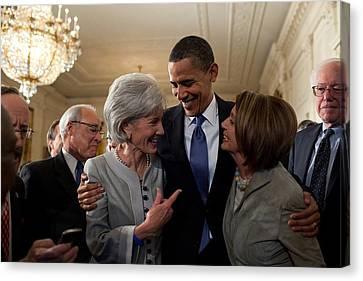 President Obama Embraces Health Canvas Print by Everett