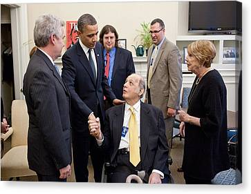 President Obama Greets James Brady Canvas Print by Everett