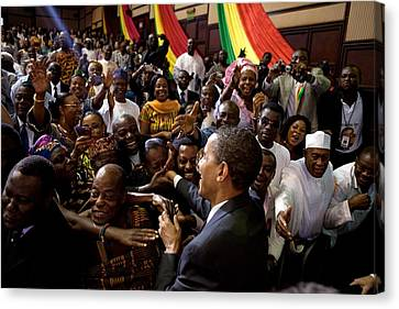 President Obama Shakes Hands Canvas Print by Everett