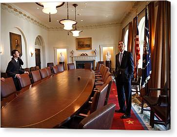 President Obama Surveys The Cabinet Canvas Print by Everett