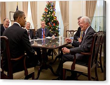 President Obama Talks With Former Canvas Print by Everett