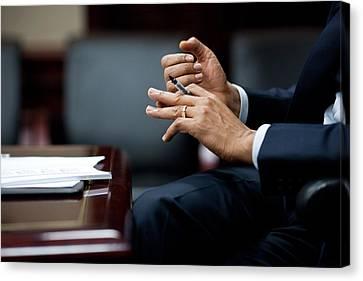 President Obamas Hands Gesture Canvas Print by Everett