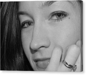 Pretty Face With Ring Near Cheek Canvas Print by Robert Ulmer