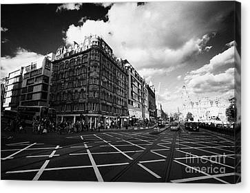Princes Street And St David Street South With Tram Lines And Old Waverly Hotel Edinburgh Scotland Uk Canvas Print by Joe Fox