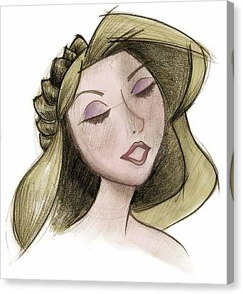 Princess - Drawing With Digital Color Canvas Print by Andrew Fling