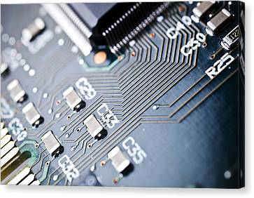 Printed Circuit Board Components Canvas Print by Arno Massee