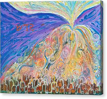 Prophetic Message Sketch 22 Sanctify Glory Pouring Into Vessel On The Mountain  Canvas Print by Anne Cameron Cutri