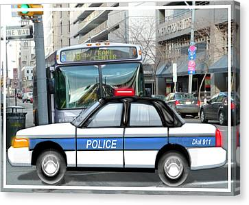 Proud Police Car In The City  Canvas Print by Elaine Plesser