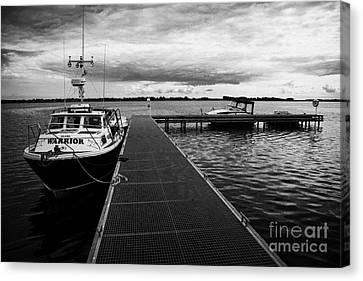 Public Jetty And Island Warrior Ferry On Rams Island In Lough Neagh Northern Ireland  Canvas Print by Joe Fox
