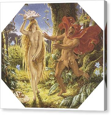 Puck And The Fairy Canvas Print by Joseph Noel Paton