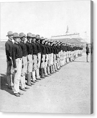 Puerto Ricans Serving In The American Colonial Army - C 1899 Canvas Print by International  Images