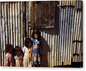 Puerto Rico. Children Of Tenant Farmers Canvas Print by Everett