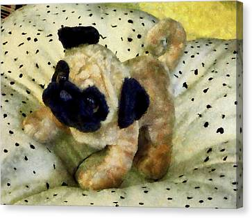 Pug On Pillow Canvas Print by Susan Savad