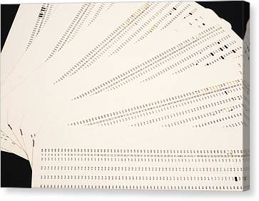 Punch Cards Canvas Print by Photo Researchers, Inc.