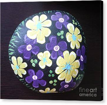 Purple And Yellow Flowers Canvas Print by Monika Shepherdson