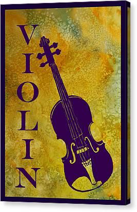 Purple Violin On Gold Canvas Print by Jenny Armitage