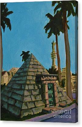 Pyramid Tomb In Cemetary Canvas Print by John Malone