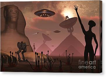 Pyramids Used As Communication Centers Canvas Print by Mark Stevenson