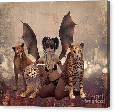 Queen Of Cats Canvas Print by Jutta Maria Pusl